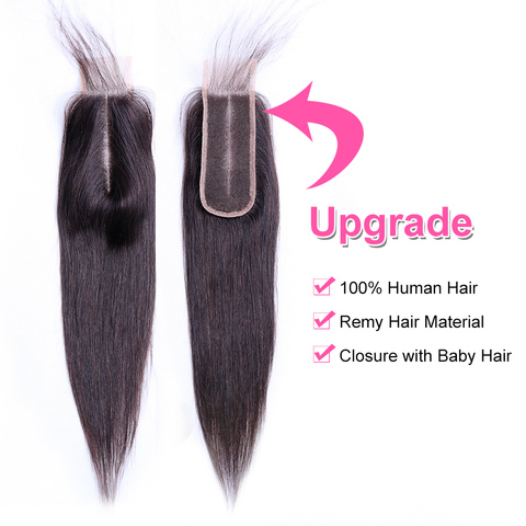 """Bling Hair 2*6 Brazilian Straight Hair Closure with Baby Hair Middle Part Remy Human Hair Closure Swiss Lace Natural Color 8-22"""" Karachi"""