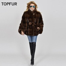 TOPFUR Real Mink Fur Coat  2019 For Women Bat Sleeve Whole Skin Piece Jackets Female Fashion Brown short