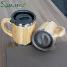 Natural Bamboo Mug with Stainless Steel Liner Creative Vacuum Cup Coffee Milk With Cover travel