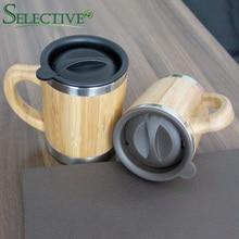 Натуральная бамбуковая кружка с Нержавеющаясталь вкладыш Творческий Вакуумная чашка для кофе, молока кружка с крышкой кружки для путешествий