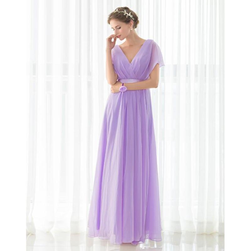 Único Piso Púrpura Vestidos De Dama De Longitud Embellecimiento ...