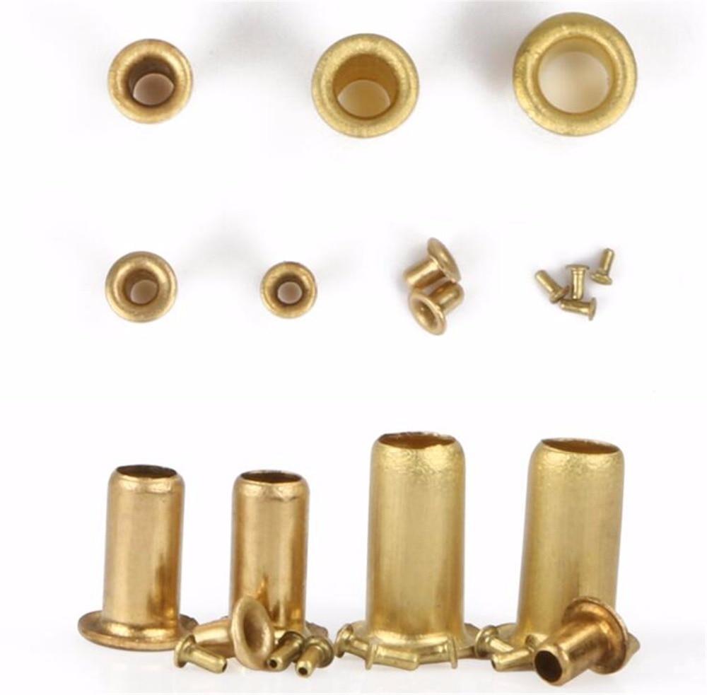 500/1000pcs M2.5*3mm Eyelet Rivet Nut Copper Through Hole Rivets Hollow Grommet Brass Rivet pure copper magnetic suspension coil with 3mm screw hole