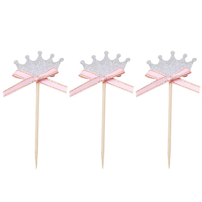3 ชิ้น/แพ็ค Prince Party Decorations Gold & Siliver มงกุฎ Cupcake Toppers เลือกเด็กทารกฝักบัวเค้กอุปกรณ์เสริม