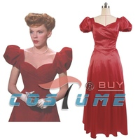 1944 Film Meet Me In St. Louis Judy Xmas Women Party Red Long Dress Cosplay Costume