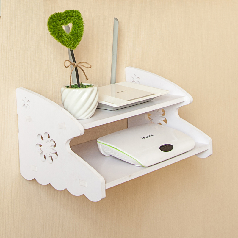DIY PVC foam board Carved wooden wall shelf HDF STB Remote Control holder TV Set top routers storage rack organizer home decor