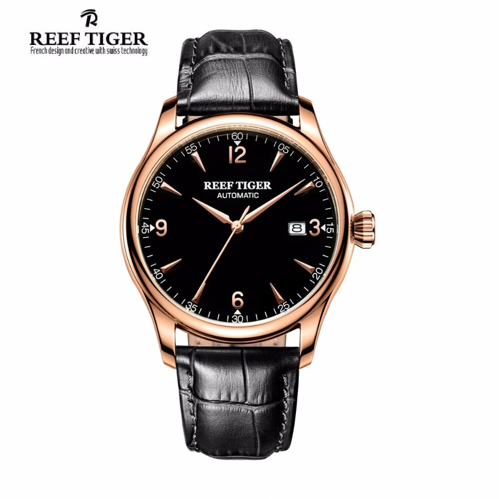 Reef Tiger/RT Business Rose Gold Tone Watch with Black Leather Band Wrist Watch For Men RGA823G frank buytendijk dealing with dilemmas where business analytics fall short