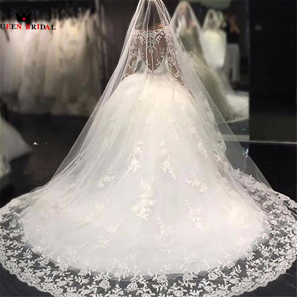 Vintage Luxury Ball Gown Long Sleeve Fluffy Sequins Tulle Lace Beading Crystal Diamond Bride Wedding Dress