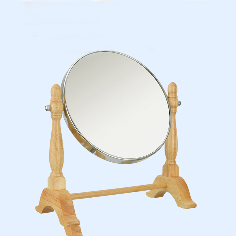 Beech wood desktop makeup mirror rotating vanity mirror double-sided cosmetic mirror with 3x magnification large 8 inch fashion high definition desktop makeup mirror 2 face metal bathroom mirror 3x magnifying round pin 360 rotating