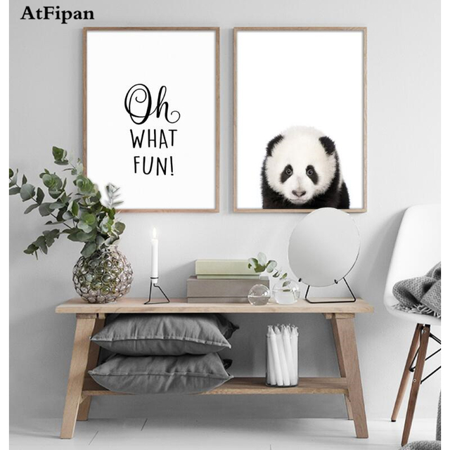 Atfipan 2 panel unframed motivational quotes posters prints panda poster black white canvas art painting nursery