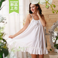 White pure cotton 100% maternity dress sleepwear female royal spaghetti strap sexy nightgown plus size loose lounge