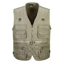 b Men Cotton Multi Pocket Vest Summer New Male Casual Thin Sleeveless Jacket With Many Pockets Photographer Baggy Waistcoat