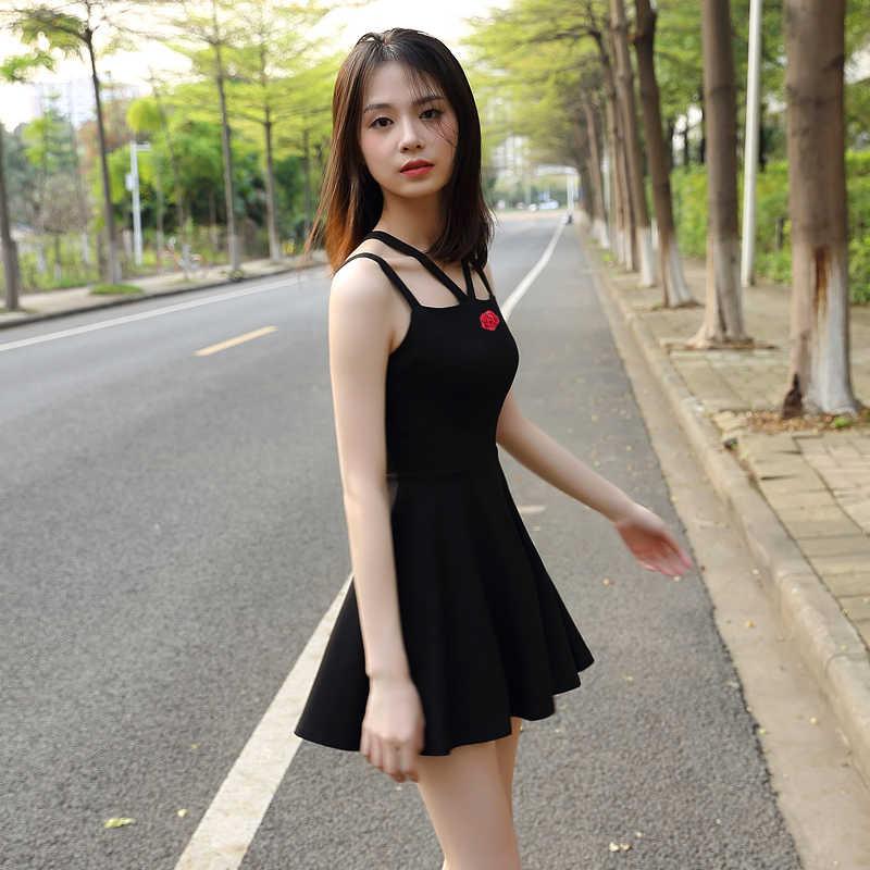 2019 new temperament was thin black waist inside the ride bottoming little  black dress sling Dress 824786c98120