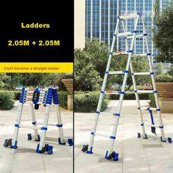 JJS511 Hoge Kwaliteit Verdikking Aluminium Visgraat Ladder Draagbare Huishoudelijke Telescopische Ladders 2.05M + 2.05M 7 + 7 stappen