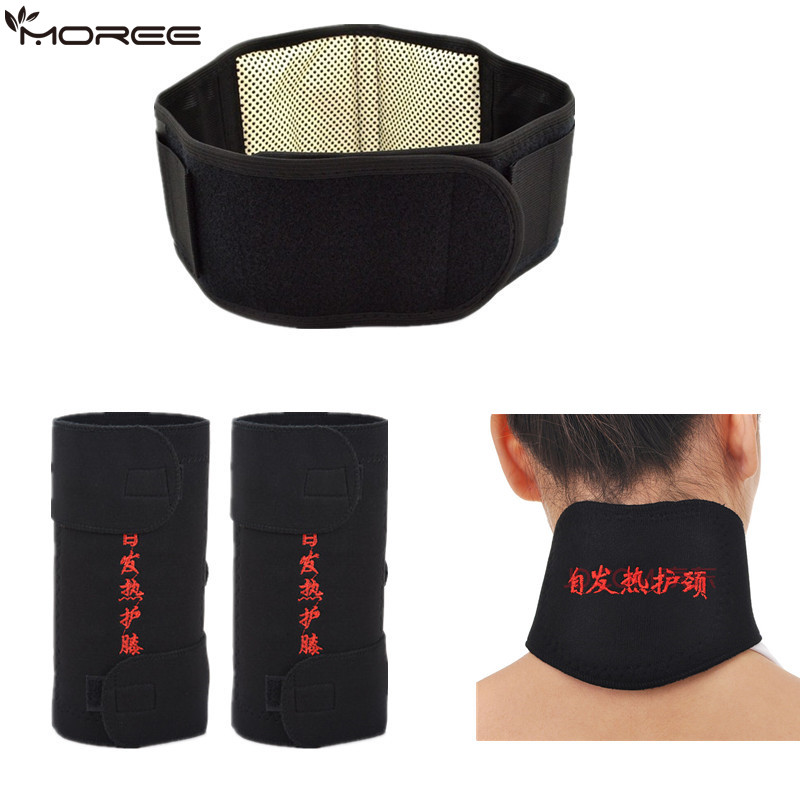 цена 4pcs/set Self-heating Tourmaline Knee Belt Neck Magnetic Therapy Belt For Back Waist Support Brace Massager Tourmaline Products