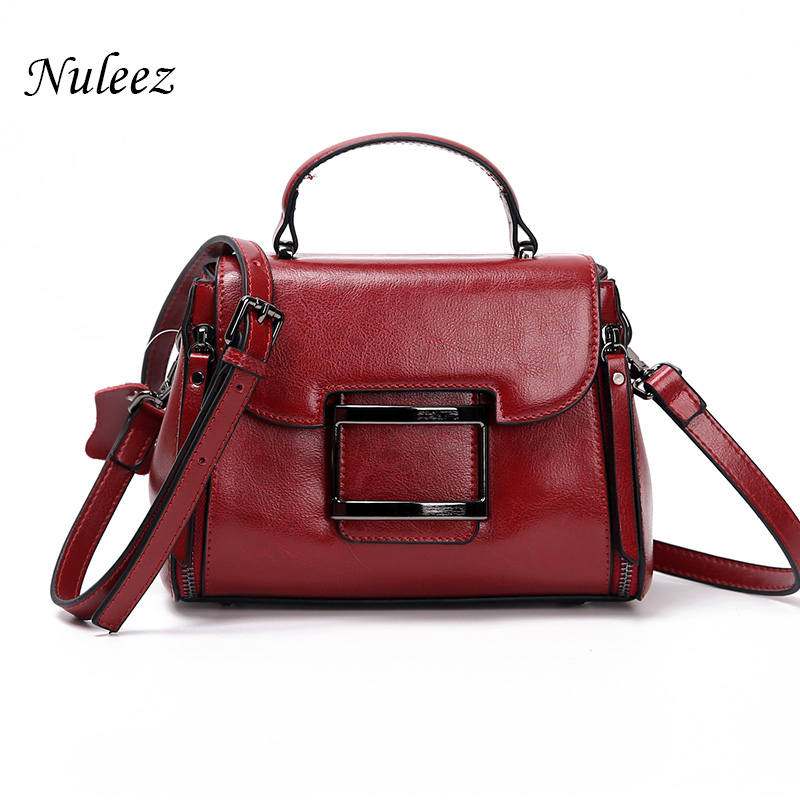 Nuleez oil waxen leather Women tote bag  leisure leather bag for the new spring/summer fashion atmosphere hand bill shoulder bag lipt 2018 mini package bag chain bag small package of the new spring and summer leisure package free shipping