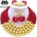 Moda rojo de La Boda de Nigeria perlas africanas joyería conjunto de cristal collar pendientes pulsera Envío gratis GG-901
