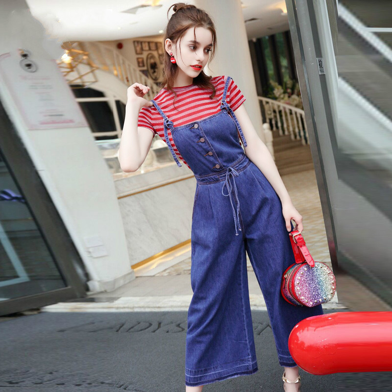 New Arrival Shiny Stripe Short Sleeve T Shirt And Denim Dungarees Sets 2018 Summer Denim Overalls Two Piece Set Women Clothing