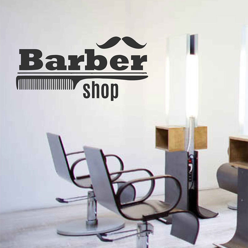 Barbershop Comb Wall Decals Sign Logo Barber Shop Logo Sticker Window Hair Salon Mural Removable Interior Wallpaper A138 in Wall Stickers from Home Garden