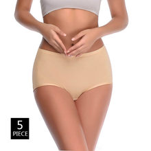 5PCS/Lot 4XL Large Size Solid Seamless Cotton Women Underwear Simple Style Soft Lady Panties Middle Waist Thin Plus Size Breifs(China)