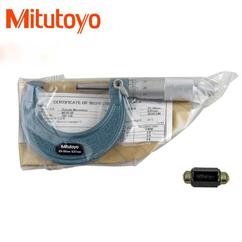 1PCS Mitutoyo Outside Micrometers 0 25 25 50 50 75mm Metalworking Measuring Accuracy 0.01mm Measuring Gauging Tools Measurement