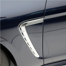 цена на Chrome ABS Exterior Both Side Leaf Plate Air Outlet Sequins Decoration Cover Trim 2pcs For Porsche Panamera 2010-2016