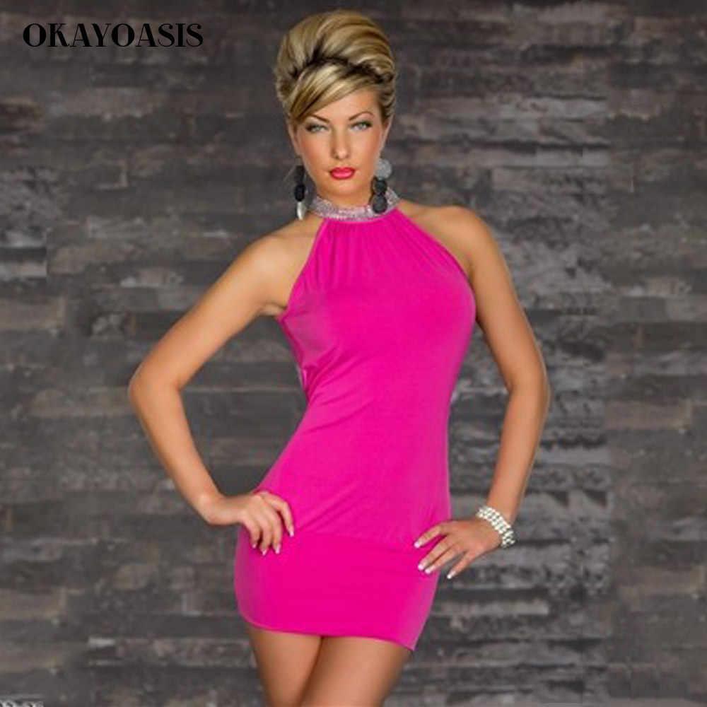 ... Okayoasis элегантные женские Мини платье Сексуальная Холтер Средства  ухода за кожей шеи без рукавов с открытой ... e5cb3471ef9