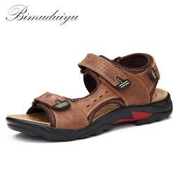 BIMUDUIYU جودة رجالي الصنادل جلد طبيعي موضة الصيف الترفيه شاطئ حذاء رجالي حذاء كاجوال حجم كبير 38-48 الرجال صندل