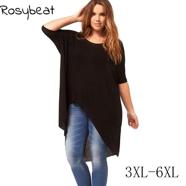 ac0c51bf3c 6XL Plus Size Women Irregular T shirt 5XL Black Large Big Size Female Tops  2017 Summer Modal Fashion Tops XXXL Casual Loose XXL