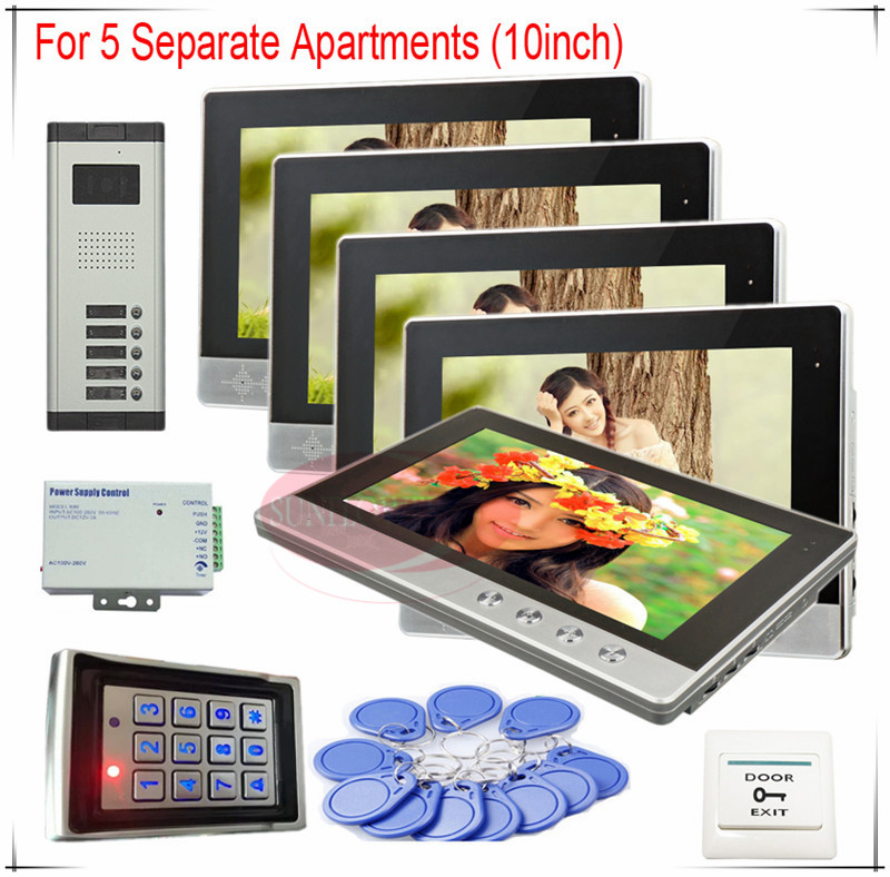 Color Video Door Phones intercom systems For 5 Apartments 10 LCD Indoor unit and 5 keys Security Doorbell+Access control system prasanta kumar hota and anil kumar singh synthetic photoresponsive systems