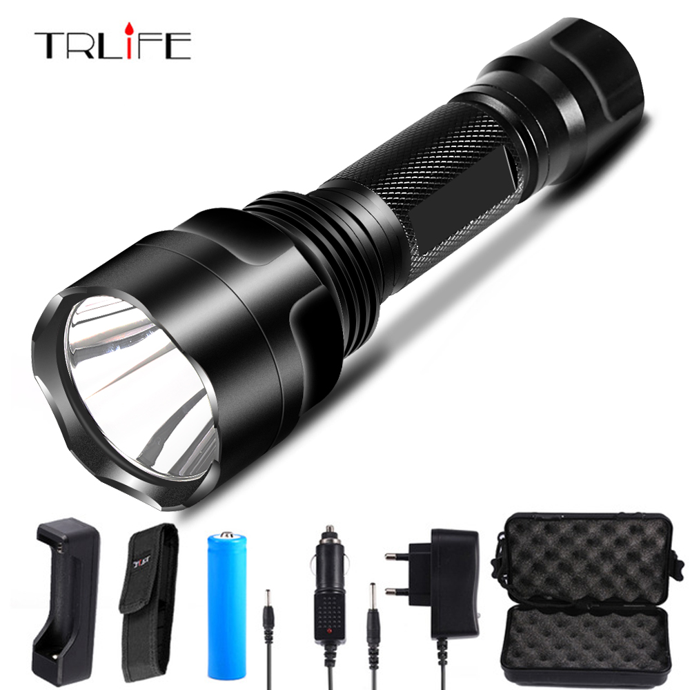 C8 Tactical LED Flashlight T6/L2/COB+T6 Torch For Riding Camping Hiking With Side COB Work Light Design By 18650 Battey