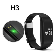 Calorie Counting Wristband Heart Rate Bracelet Health Watch Fitness Tracker Alarm Vibrating Smart Band H3 for Women Men Mobile