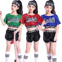 купить 2019 Girl Jazz Dance For Girls Jazz Dance Costumes for Boy Hip Hop Dancing Girl Sequins Stage Performance Paris Hip Hop Costumes по цене 525.61 рублей