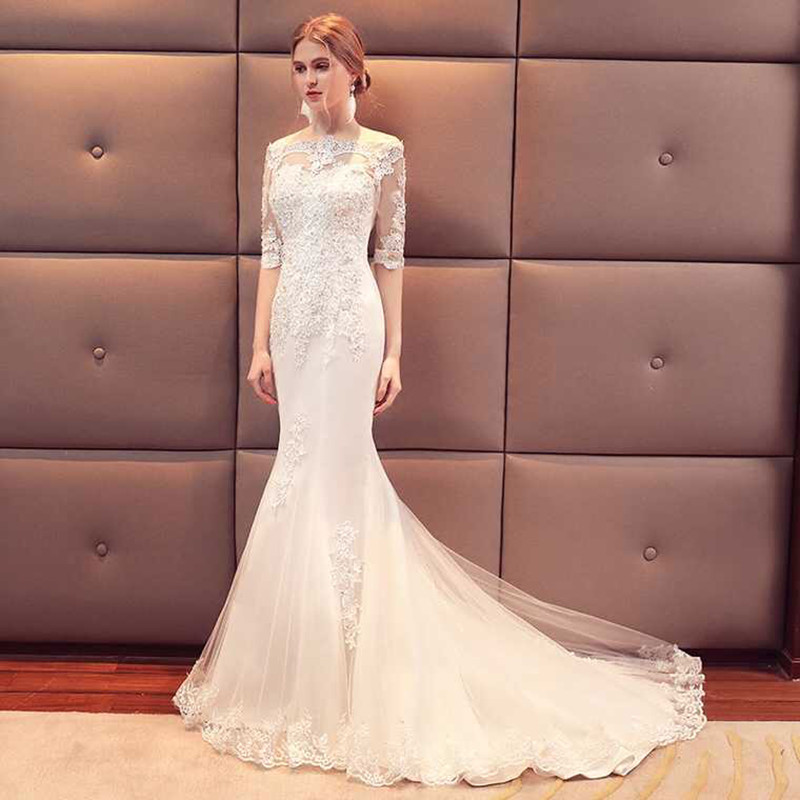 Holievery Bateau Neck Tulle Mermaid Wedding Dresses with Lace Appliques 2019 Half Sleeves Bridal Gowns Sweep Train