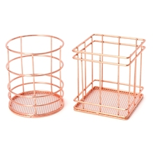 Rose Gold Metal Pen Holder Desk Organizer Pencil Container School Stationery Office Accessories