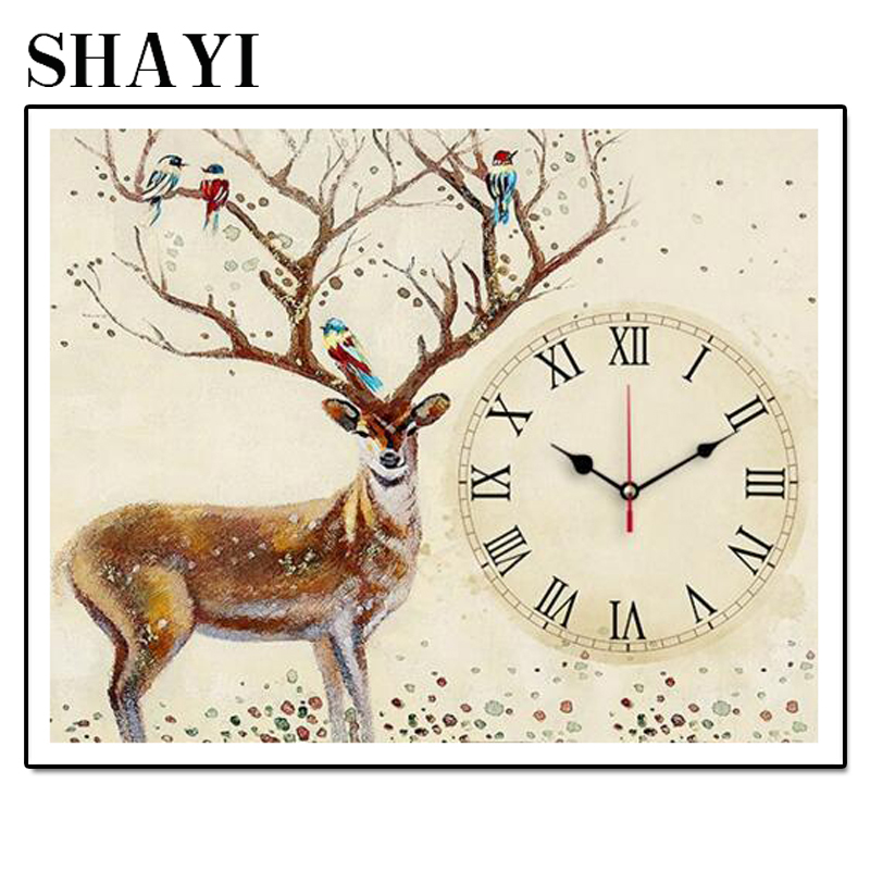 Homemade Wall Clock 5D Deer Rhombic Cross Stitch Rose Watch Full Dimaond Embroidered Diamond Mosaic Rhinestone LUOVIZEM L157 in Diamond Painting Cross Stitch from Home Garden