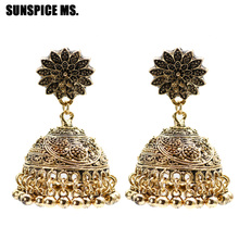 SUNSPICE MS Ethnic Indian Birdcage Earring Women Antique Gold Silver Color Egypt Drop Retro Vintage Boho Ancient Jewelry