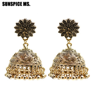 SUNSPICE MS Ethnic Indian Birdcage Earring Women Antique Gold Silver Color Egypt Drop Earring Retro Vintage Boho Ancient Jewelry(China)