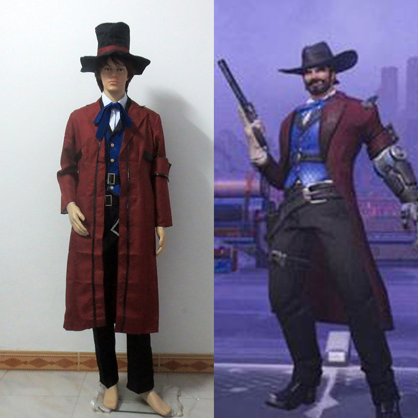 Hot Game OW Cosplay Jesse McCree Cosplay Costume Full Set Halloween Uniform Outfit