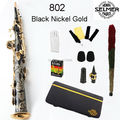 Brand New France Selmer Straight Soprano Saxophone 802 Black Nickel Gold Professional B Sax mouthpiece With Case and Accessories