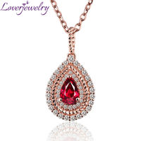 Luxury Female Jewelry Pear 4x6mm 18K Rose Gold Natural Diamond Ruby Gemstone Women Pendant Necklace For Wife Anniversary Gift