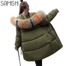 Saimishi Warm Long Women Parkas Hooded Jacket Women Winter Coat Slim Outerwear Female High Quality Winter Jacket Women Coat