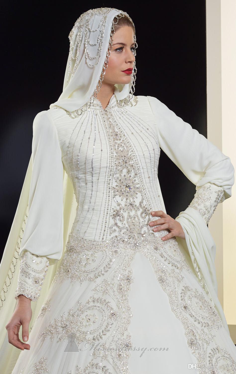 Buy luxury long muslim arabic wedding for Wedding dresses with high neck and long sleeves