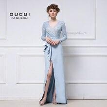Real Photos Long Evening Dress Beaded Handmade Crystal Elegant Full Sleeve High Split Formal Dresses OL102983