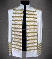 2014 nueva moda estilo de la estrella blanca hombres charretera traje de la etapa superior masculina chaqueta cantante bailarina rendimiento muestran trajes de ropa de abrigo abrigo