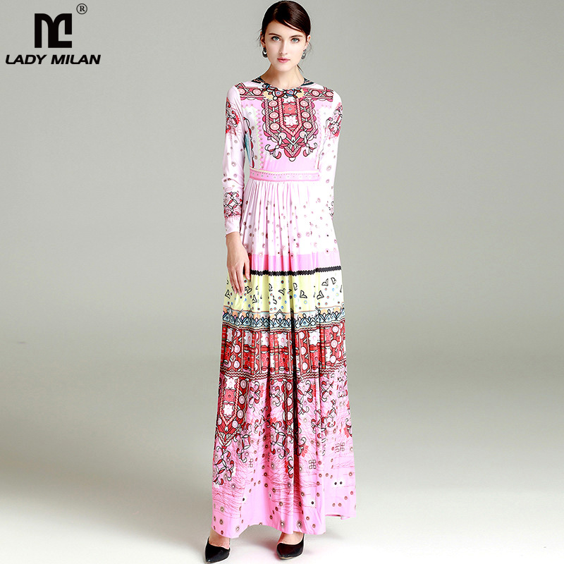 New Arrival 2018 Womens O Neck Long Sleeves Printed Floral Pleated High Street Fashion Maxi Runway Dresses