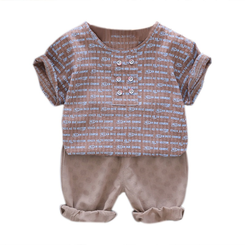 White/Pink/Brown Letter Print O-Neck Summer Baby Boys Short Sleeve Letter Print Tops Blouse T-shirt+Shorts Casual Outfits Sets