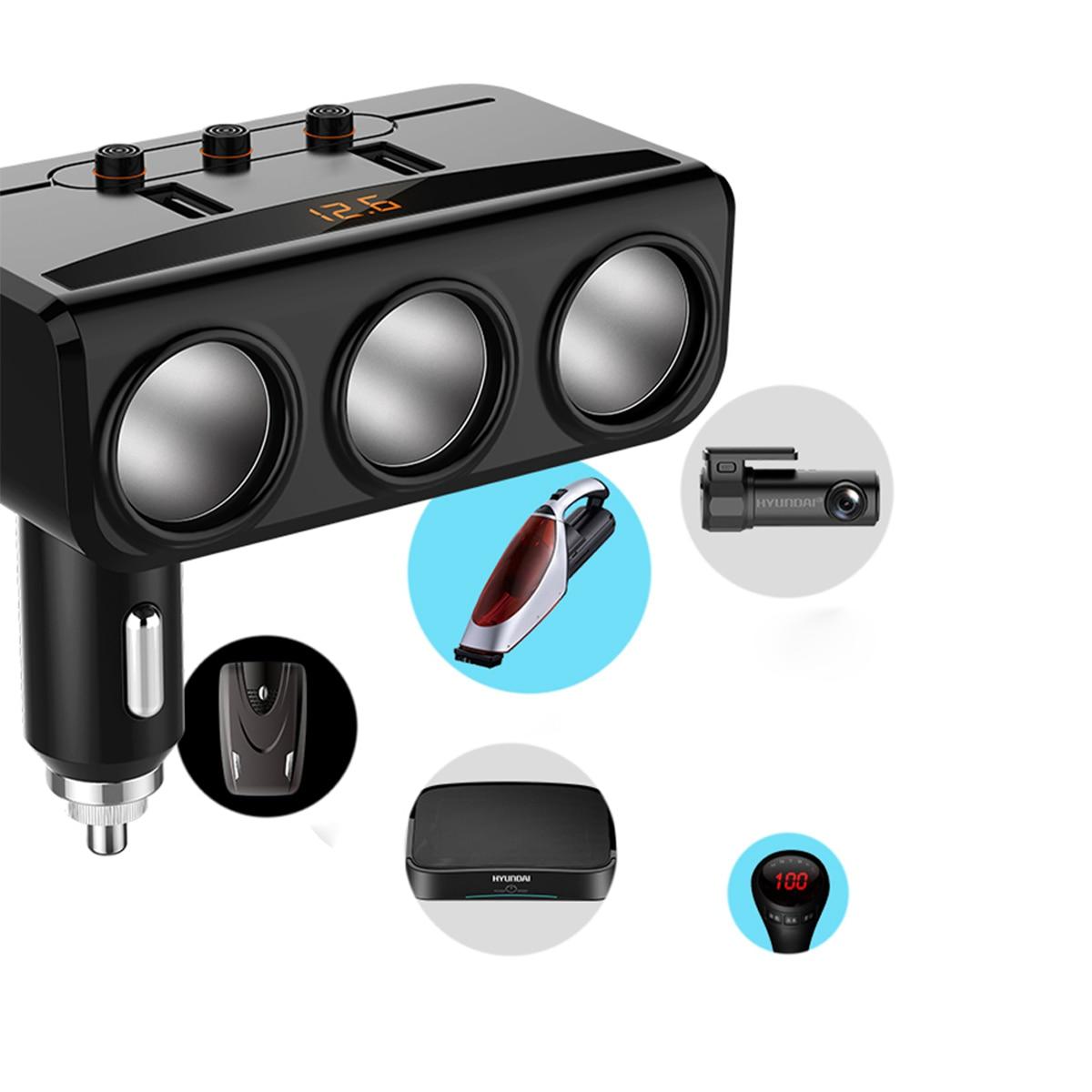 HY29 12 24V LED Display Dual USB 5V 3 1A Car Charger Motors Intelligent Voltage Detection 3 ports Car Cigarette Lighter in Cigarette Lighter from Automobiles Motorcycles
