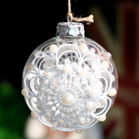 Hanging Glass Ball Party Wedding Bauble White Sunflower Christmas Tree Ornament Holiday Marriage Happy New Year
