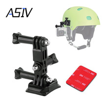 ASIV Go Pro Helmet Side Mount Kit 3 Way Adjustable Pivot Arms Flat Base Curved Mount