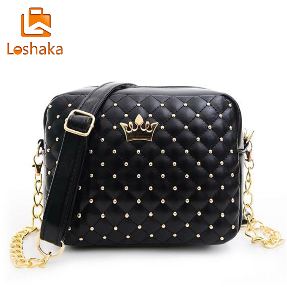 Loshaka Women Shoulder Bag Fashion Plaid Messenger Bags Rivet Chain Handbag High Quality PU Leather Crossbody Quiled Crown Bags